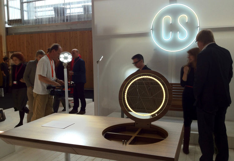 Czech Selection booth at Maison & Objet; pictured in the foreground is the Princess dressing table designed by Michael Fronēk and Jan Nēmeček of Studio Olgoj Chorchoj. The black walnut top perched on a thin stainless steel base opens to reveal a compartme
