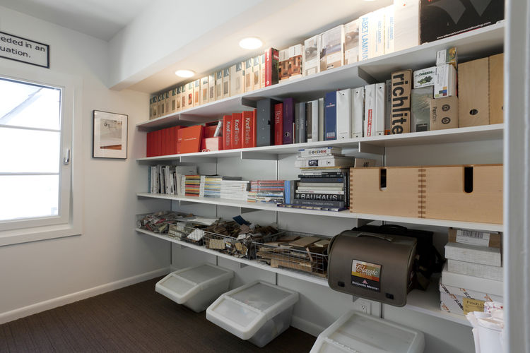 """The old mirrored closet was transformed into a storage wall in Popp's office. Photo by <a href=""""http://mikegraffigna.com/"""">Mike Graffigna</a>"""