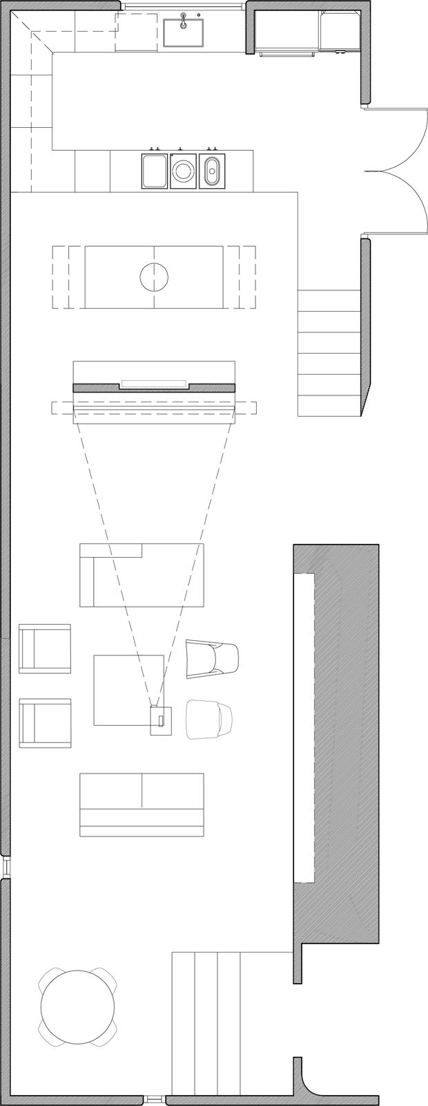 """The floor plan of the main room, including the media room, dining area and kitchen. Image courtesy <a href=""""http://www.curtispopp.com/"""">Curtis Popp</a>"""