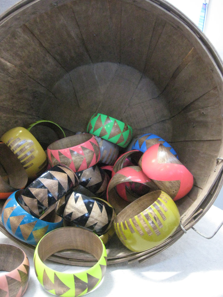 "A bounty of bangles from <a href=""http://www.etsy.com/shop/vozclothingandart"">Voz Clothing and Art</a>. Neon is back, people! Embrace it. These are beyond awesome."