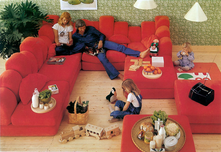 A retro advertisement for the Dromedary Sofa, designed by Hans Hopfer in 1974.