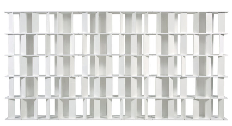 The Flap Bookcase, designed by René Bouchara in 2007, features articulated flaps that can be rotated at will to create filled spaces and voids.