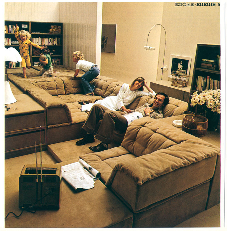 "The Plateau Sofa (1971) was part of Roche Bobois' ""New Science of Sitting"" campaign, which emphasized customizable and flexible furniture arrangements."