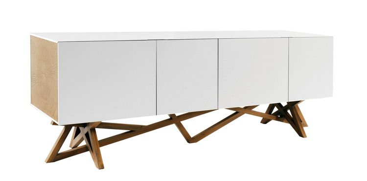 Part of Roche Bobois eco-themed design, the Saga Sideboard—designed by Christophe Delcourt in 2009—features a cross section of a tree trunk on the side panels.