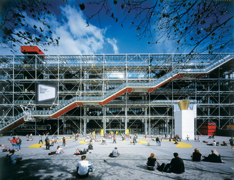 The Centre Pompidou in Paris opened in 1977 and was a collaboration between Rogers and fellow Pritzker Prize–winner Renzo Piano.