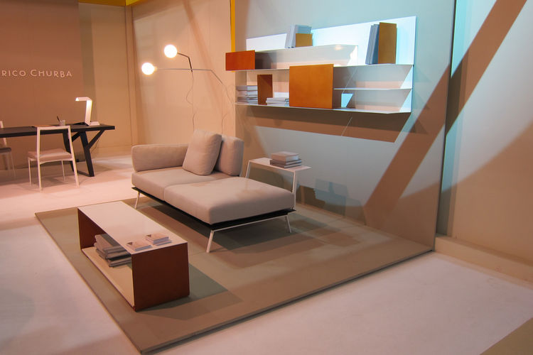 """Argentine designer <a href=""""http://www.federicochurba.com.ar/"""">Federico Churba</a> displayed a full collection of new furniture, including his Poul sofa, Banda low table, Punto y Coma lamps, Picnic dining table, and Chocolate bookcase."""