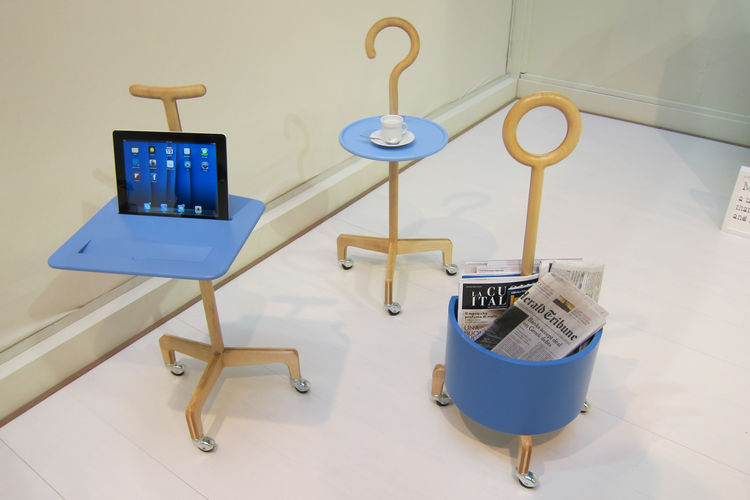"Francesca Lanzavecchia and Hunn Wai of <a href=""http://lanzavecchia-wai.com"">L+W</a> presented a collection entitled ""No Country for Old Men"" comprised of pieces for the aging community, including this trio of lightweight canes that also function as table"