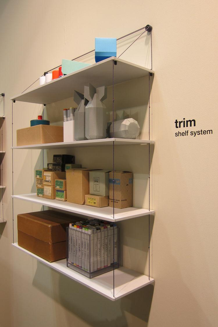 "Trim, a suspended shelf system by Gothenburg, Sweden, design studio <a href=""http://www.akka.se/"">Akka</a>."