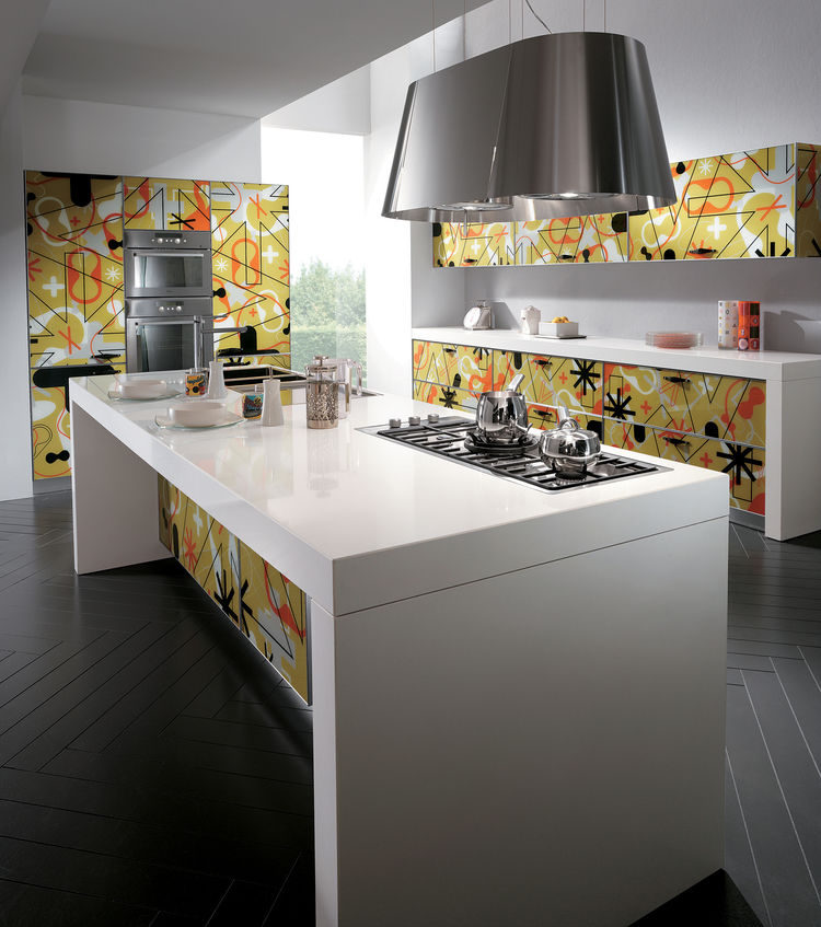 In their update to the popular Crystal kitchen, Scavolini partnered with Karim Rashid, who designed the bright geometric patterns.