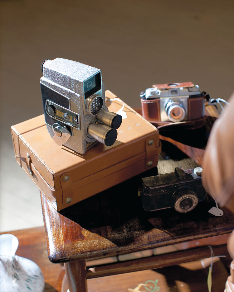 A series of classic cameras.