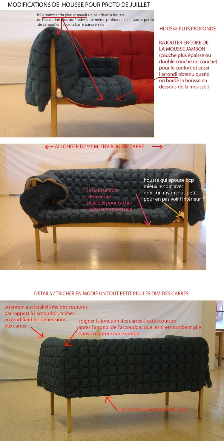 After each visit, Sempé sent back instructions for how each prototype might be improved. Here, she suggests adding more foam and addresses the question of how the cover should drape over the armrest (top); asks that the next prototype be one square longer