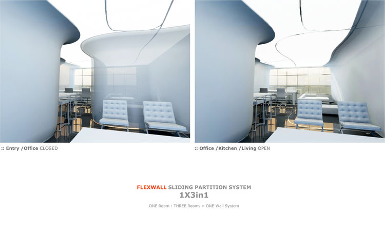 Flexwall<br /><br /> Submitted by: IsometricaDesign, Architects<br /><br /> Designer's Description: <br /><br />The sliding FLEXWALL system allows multiple room configurations within a single open space. This wall system is comprised of vertical rib skele
