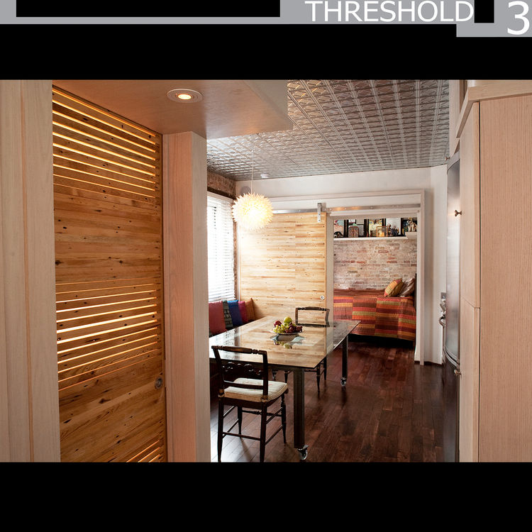 Threshold 3<br /><br /> Submitted by: MAKE Design<br /><br /> Designer's Description: <br /><br />From the outset, the 350-square-foot space was challenging. The design solution we arrived at centered on placing three doors in the apartment that could sli