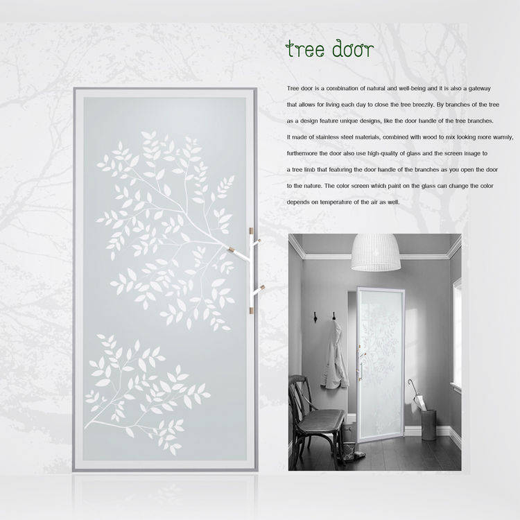 Tree Door<br /><br /> Submitted by: Name not provided<br /><br /> Designer's Description: <br /><br />Tree door draws inspiration from the natural form of a branch. It's made of stainless steel, combined with wood to look warmer. The temperature-sensitiv