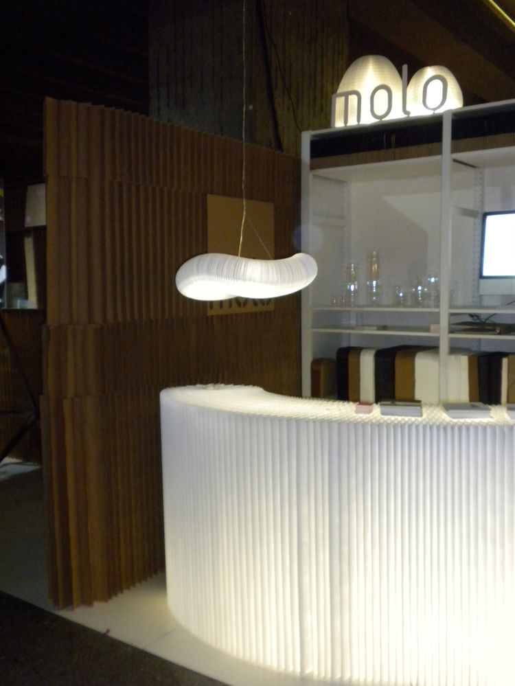 "Guiding show attendees was an accordian wall constructed of kraft paper by Vancouver-based company <a href=""http://www.molodesign.com/"">Molo</a>. The paper products, which contain 50-percent recycled content, come in an array of sizes and several colors a"