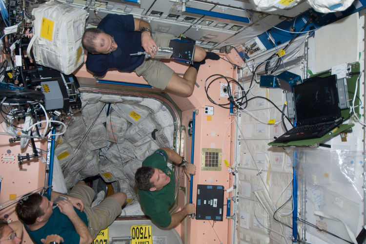 Members of the Space Shuttle Endeavour and ISS crews spend some rare leisure time together on the orbital outpost as they move within a day and half of undocking and going separate ways. Astronaut Sandra Magnus, flight engineer for Expedition 18, is parti