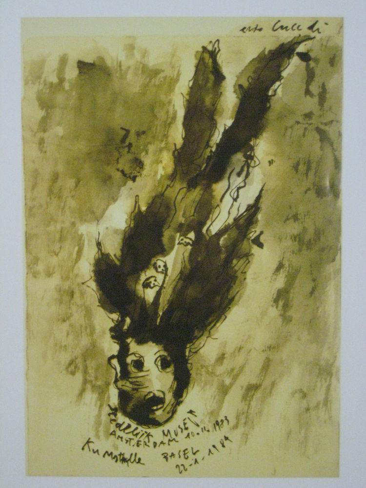 "Enzo Cucchi (b. 1949 Morro d'Alba). Poster for ""Enzo Cucchi,"" 1983."