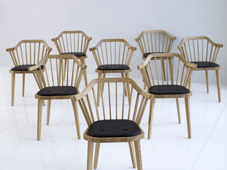 Stick is a new take on an old classic. Its slatted back recalls classic Windsor chairs, but its geometric edges and thick upper rim give it a shape and personality all its own.