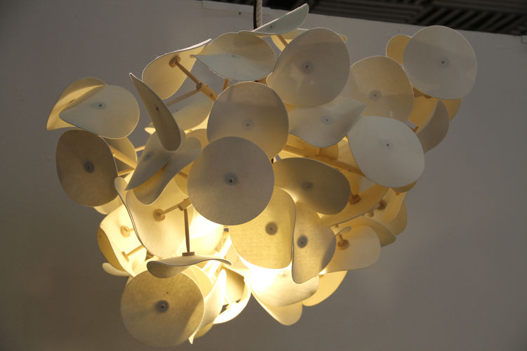 """The Leaf Lamp, by Australian designer Peter Schumacher, won the <a href=""""http://greenfurniture.se/award"""">Green Furniture Award</a> in 2010. This year it reappeared as a pendant."""