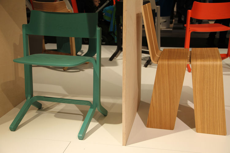 """Two easy plywood pieces from Danish furniture purveyor <a href=""""http://www.hay.dk"""">Hay</a>—the Ru Chair, by Shane Schneck, left, and the Shanghay Chair, by KiBiSi, at right."""