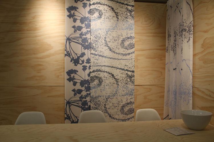 "Hand-printed textiles from Danish company <a href=""http://www.kurage.com"">Kurage</a>."