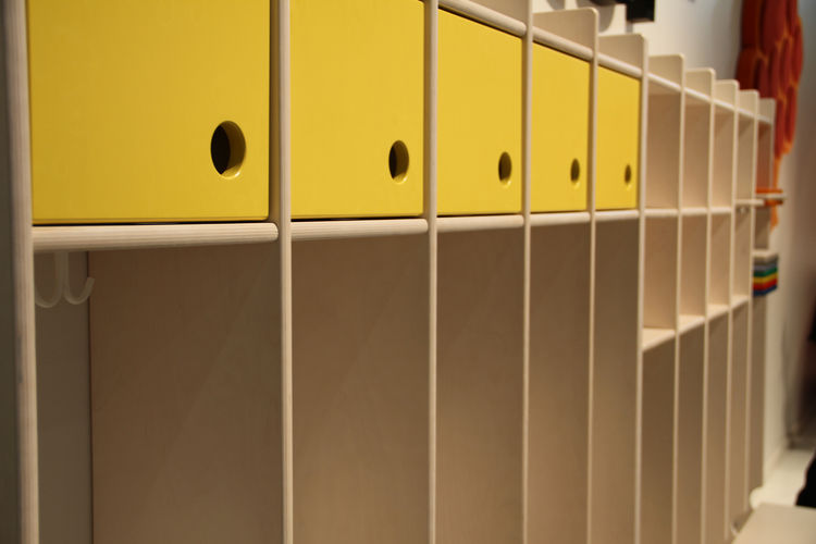 """Cozy cubby form, accented by—what else?—yellow cabinets, by kids' furniture purveyor <a href=""""http://www.lekolar.no/templates/StartPage1.aspx?id=612"""">Lekolar</a>."""