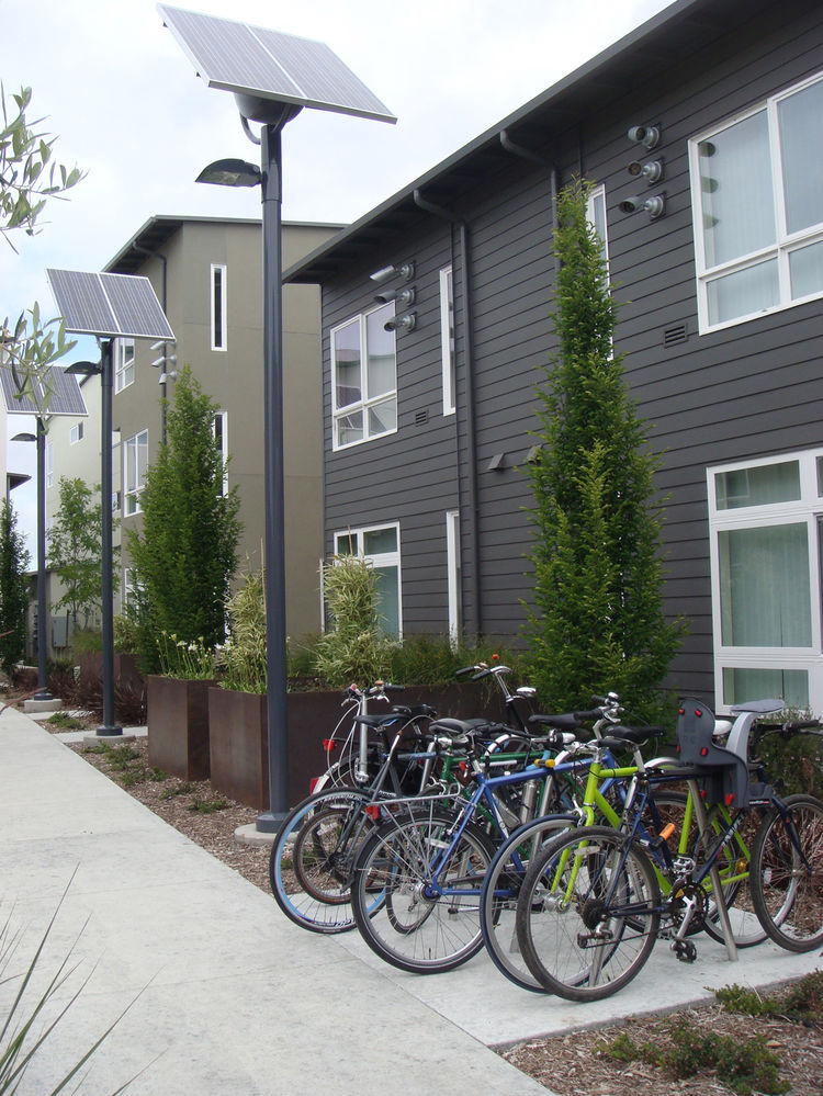 The landscape design of Tassafaronga Village is very bike and pedestrian friendly. Networks of paths link the residences together and bike racks are stationed throughout the village.
