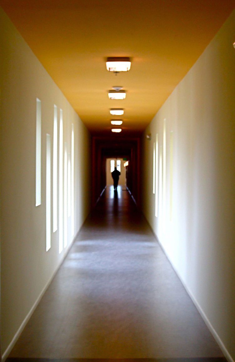 Natural light illuminates the halls and corridors within the apartment building, casting a warm glow inside.