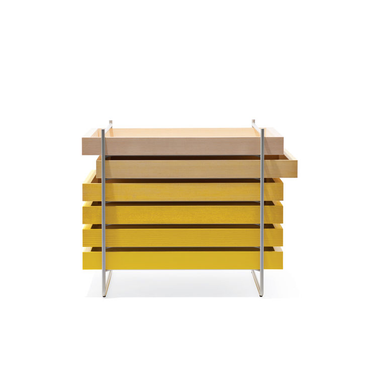 yellow ash-wood Tool Box storage system by Line Depping