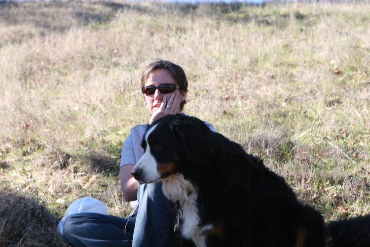 Abby and Vinnie, the couple's rescue Bernese Mountain dog, watched from a nearby hill in awe.