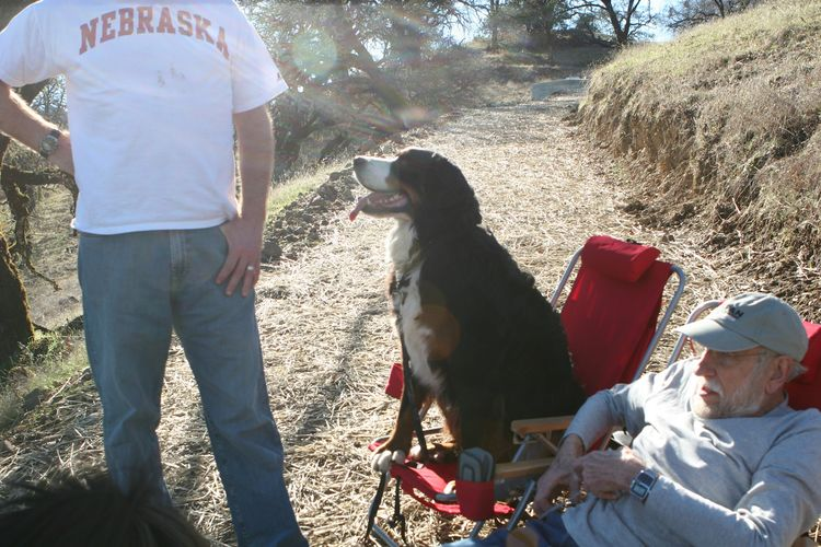 Vinny supervises from his lawn chair withBill (in the Nebraska t-shirt) and Bill's father (seated).