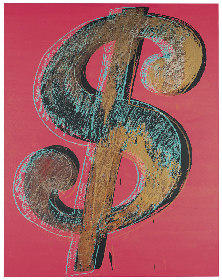 <i>Dollar Sign</i>, Andy Warhol, 1981. Synthetic polymer paints and silk-screen inks on canvas. Private collection. Photograph Christie's Images 2011 © The Andy Warhol Foundation for the Visual Arts / Artists Rights Society (ARS), New York / DACS, London