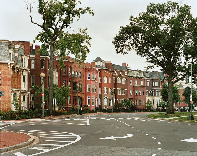 The brick row houses of Logan Circle, at Vermont and Rhode Island Avenues NW, have a style distinct from those in other neighborhoods of the District.