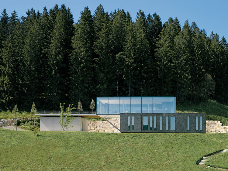 H16 is a fully recyclable, zero-emissions house near Stuttgart that consumes no energy and blends in with the landscape.