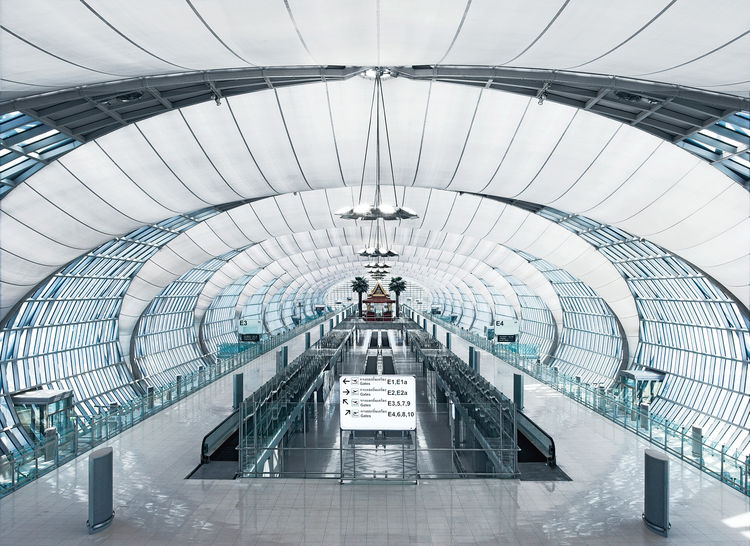Suvarnabhumi International Airport, Bangkok, Thailand. From the main building the gates are reached via concourses, consisting of a system of flattened tubes.