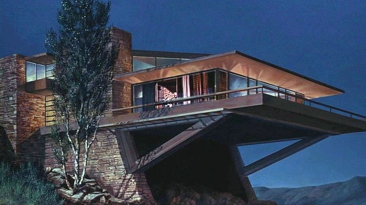 A matte painting by Matthew Yuricich of the Vandamm house featured in <em>North by Northwest</em> (1955). Production designer Robert Boyle was heavily influenced by Frank Lloyd Wright's Fallingwater.