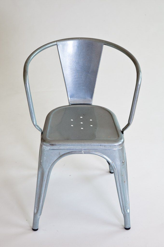 "I am particularly fond of this experiment—an addition to the iconic galvanized Tolix A56 chair, designed by Xavier Pauchard for Tolix. ""The 'A' chair was born out of an understanding of material and is a great example of technique and industrial knowledge"