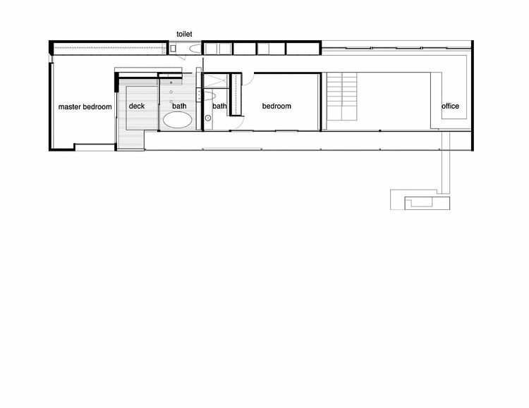 The second level master suite is isolated from the rest of the house and was designed to pivot around the deck, which connects the bathroom with the bedroom.