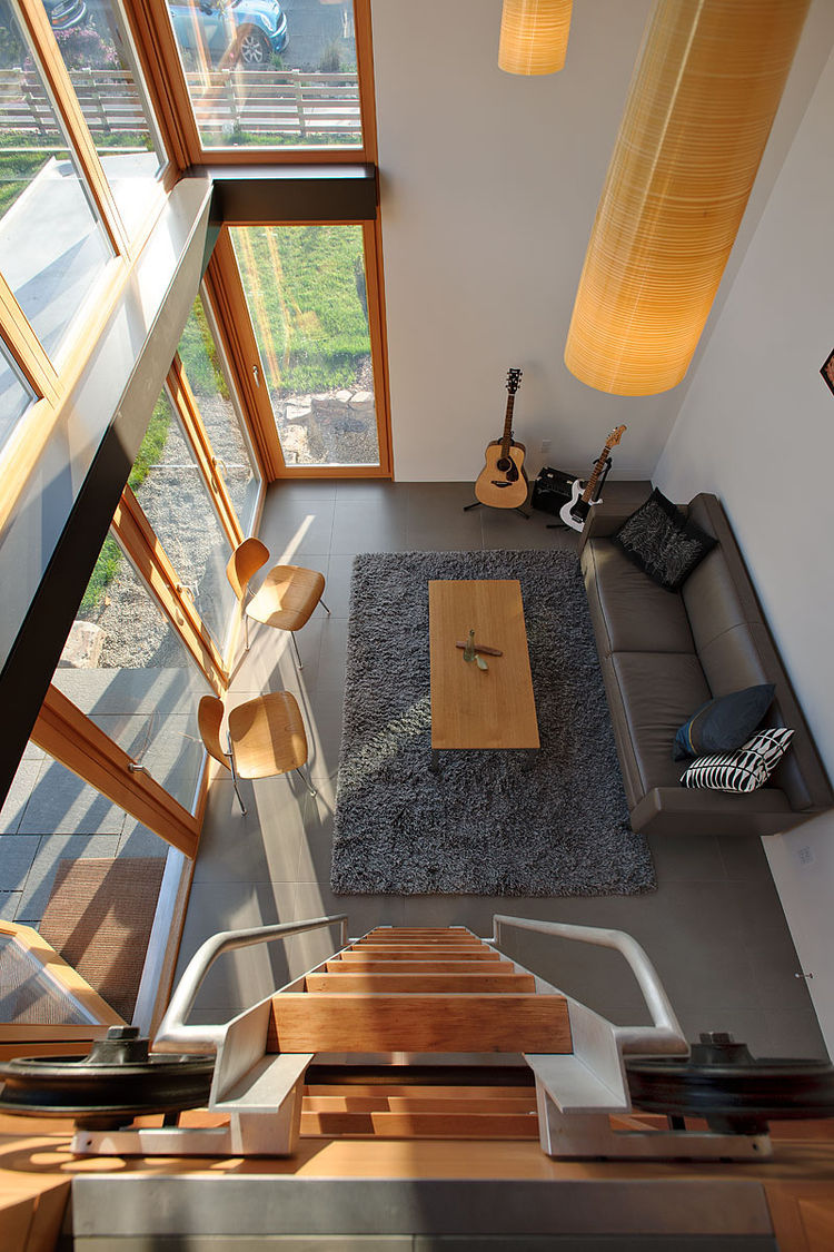 Here's a bird's eye view of the living area from the loft.