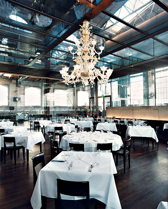The trendy Zurich West district is home to the restaurant LaSalle, whose refined interiors contrast with the industrial environs.