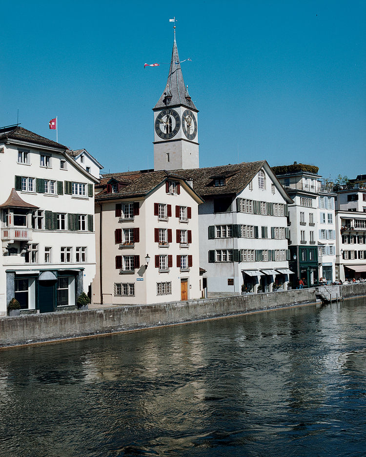 Rising above the Schipfe, one of Zurich's oldest quarters and long a center for merchants and craftspeople, St. Peter's Church boasts Europe's largest church clock face, a Romanesque feature added in 1534.