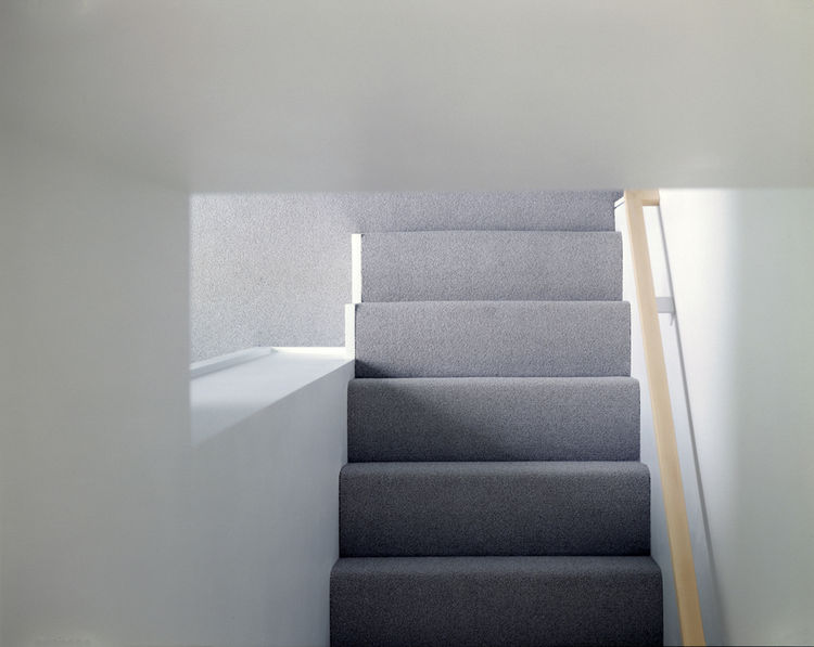 A commercial-grade gray carpet runs up the steps and throughout the second floor. Its short pile keeps the edge sharp on the stair treads, as well as being easy to maintain—a priority for the family, and one that guided many of their design decisions. Pho