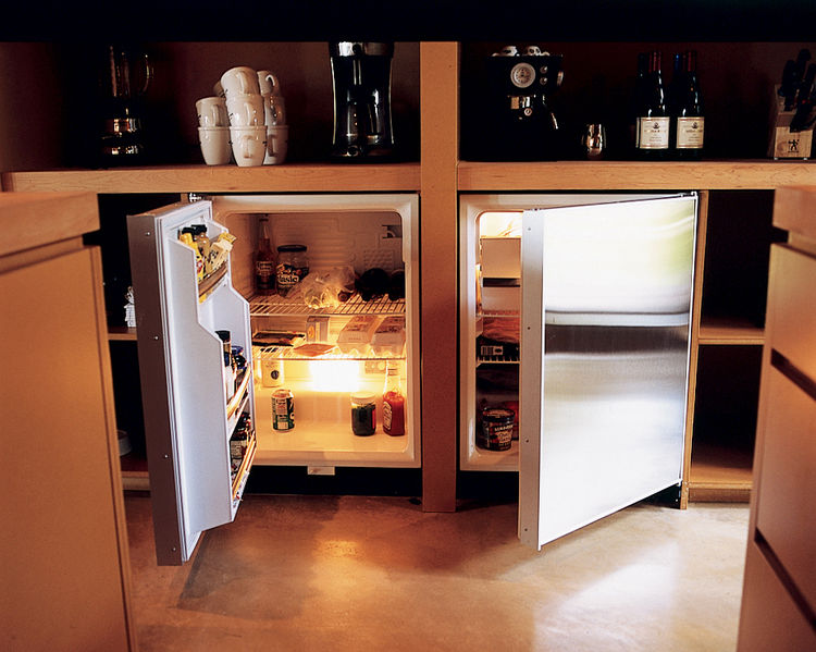 "To help keep the house free of clutter, the full-size refrigerator was hidden in a basement utility room. An unobtrusive three-foot-tall fridge and matching freezer—made by Sub-Zero—were tucked beneath a kitchen countertop. ""There are so many more options"