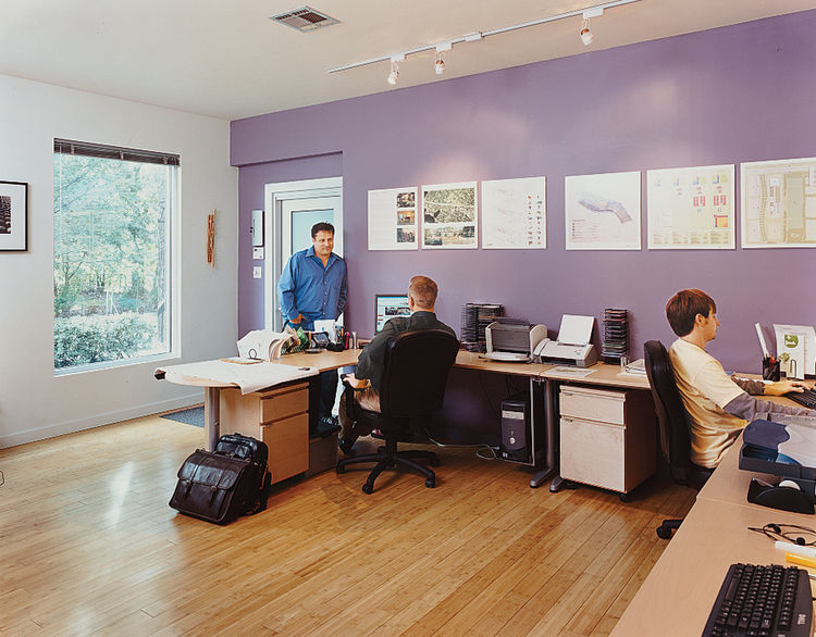 Baird's design-build firm, PLUSone Design + Construction, operates out of the former master bedroom.