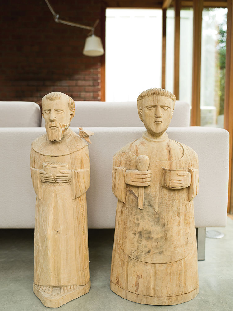 The Arnolds consider Francis and Paschal the patron saints of their home, representing moderation or austerity tempered by generous hospitality.