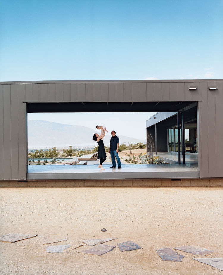 Marmol and Becket with their daughter, Emilia. The intersecting modules were designed to frame a range of spectacular desert vistas.