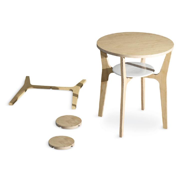ash and chestnut plywood Nort table by Estudio Estres