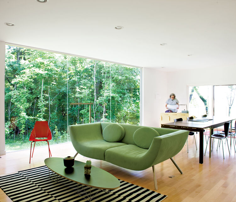 The living-room sofa is by the New York–based designer Stanley Jay Friedman.