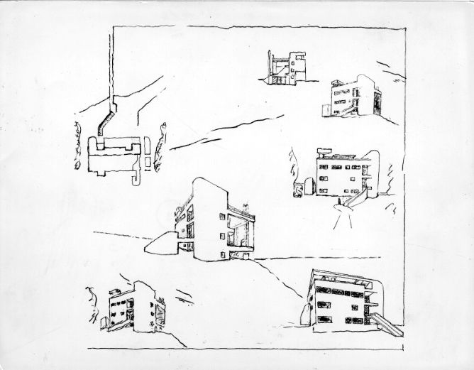 The exterior floorplan sketches of the Douglas House designed by Richard Meier.