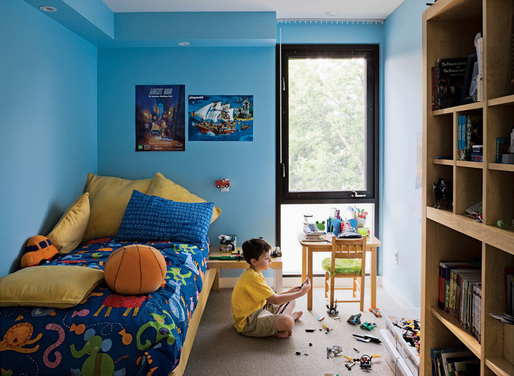 Griffin's room, which is exactly the same size as his brother's, gets good light from the backyard.